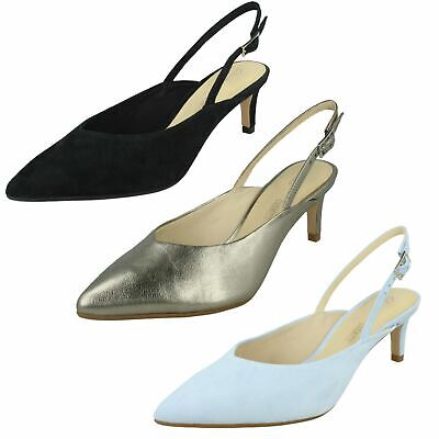 Ladies Clarks Laina55 Sling Leather Party Wedding Pointed Slingback Heel Shoes • 64.99£