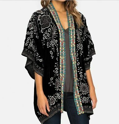 $239.99 • Buy $338 Johnny Was Velvet Okinowa Embroidered Kimono Size L Black Cardigan Jacket
