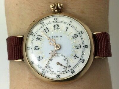 Rate Elgin 1920's WWI MILITARY Driver Watch Gold Filled Clean Enamel Dial RUNS • 35.52£
