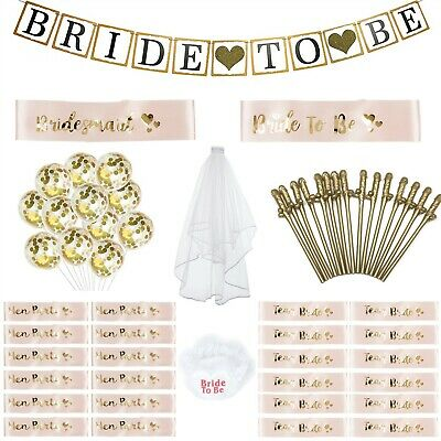 £3.49 • Buy Hen Party Lot Rose Gold Sashes Gold Willy Straws Veil Balloons Garter Banner