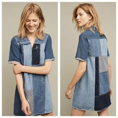 $ CDN49.99 • Buy New Anthropologie Holding Horses Patched Denim Shift Dress Jean Tunic 2 Blue