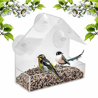 £5.95 • Buy Glass Window Bird Feeder Table Seed Peanut Hanging Suction Perspex Clear Viewing