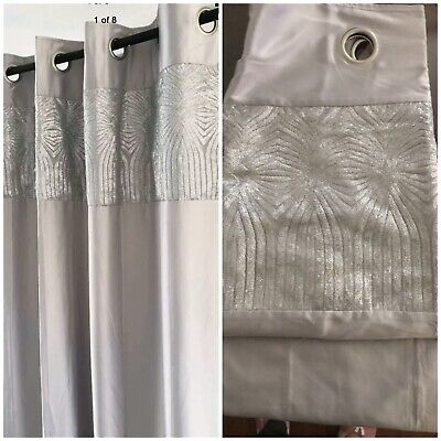 Next- Lipsy Silver Curtains With Glitter Boarder 117x137cm. ExDisplay Good Cond • 24.99£