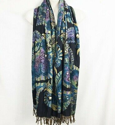 $20 • Buy Chicos Black Multi Color Embellished Scarf Shawl Throw Cover Up Fringed Purple