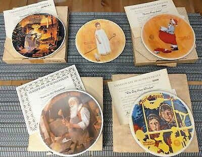 $ CDN18.67 • Buy Lot Of 5 Vintage Norman Rockwell Plates - Christmas Themed