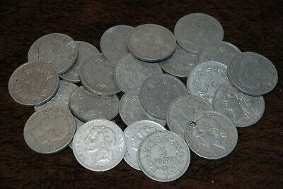 25 X Old Vintage Foreign Coins. All 5 Francs. 1940's. • 0.99£