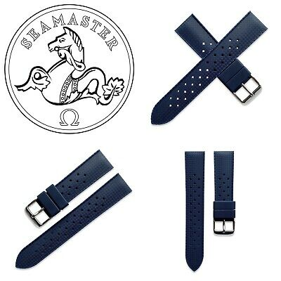 20mm Blue Silicone Rubber Tropic Watch Strap Band For Omega Seamaster 300M • 25£