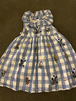 Next Blue And White Checked Floral Summer Dress 2-3 Years • 1.60£