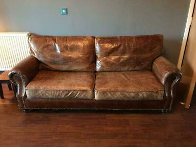 HALO Balmoral 2 & 4 Seater Sofas Vintage Distressed Cigar Antiqued Leather Suite • 1,350£