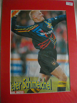 Peter Schmeichel Autographed Mounted Pic. Manchester Utd • 16£