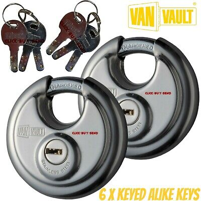 2 X VAN VAULT NEW STYLE 70mm DISC LOCK LOCKS VEHICLE SECURITY BOXES TWIN PACK • 34.99£