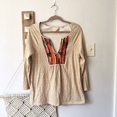 $ CDN13.24 • Buy Anthropologie Medium Shirt Vanessa Virginia Stripe Sequin Orange Top Boho