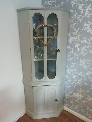 Corner Unit/Furniture Grey/Shabby Chic Display Cabinet Painted In Annie Sloan • 5£