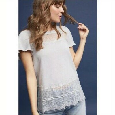 $ CDN1.31 • Buy Anthropologie Women's Linen Lace Tee Medium White Trim Short Sleeve Top Deletta