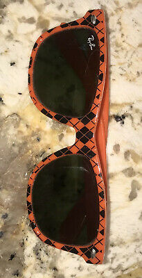 $44.99 • Buy Vintage RayBan Ray Ban Classic Cat Eye Orange Black Argyle Sunglasses VGUC