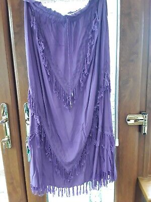 Retro  Jordash  Hippy/ethnic Long Fringed Purple Skirt In Excellent Cond. • 1.99£