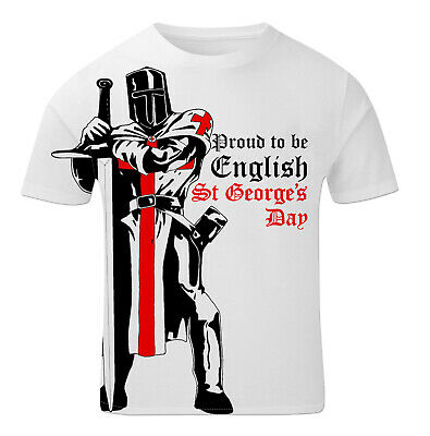 St George's Day T Shirt - Knight Proud To Be English England Flag MensTee #2 • 11.97£