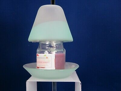 New Yankee Serene Sandblast Aqua Sm Candle Shade And Tray+Raspberry Sorbet Jar   • 7.50£