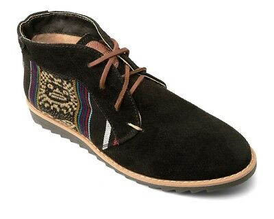 AU65 • Buy Ripple Sole Black Suede Desert Boots - Ethical Fair Trade Stylish Retro Shoes