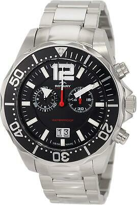 Rotary Men's Quartz Watch With Black Dial Chronograph Display And Silver Stainle • 229£