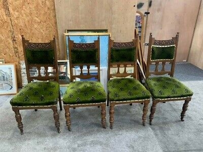 £175 • Buy Antique Dining Chairs Four Victorian/Edwardian Upholstered With Castors Oak