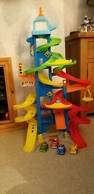 Fisher Price Little People City Skyway Racing Tower Car Racing Tower With 4 Cars • 8£