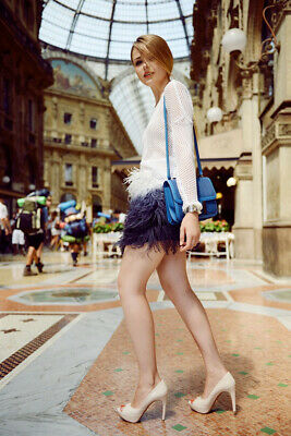 £54.99 • Buy Zara Woman White And Blue Ombre Ostrich Feather Skirt, UK Size M 8-10 New