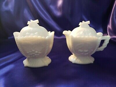$25 • Buy Vintage Westmoreland Milk Glass Cherries And Grapes Sugar Bowl Creamer With Lids