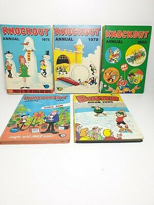 Bundle Of 4 Vintage Knockout Annuals 1975 1979, 80, 83  Comics Books + Buster 85 • 1.99£