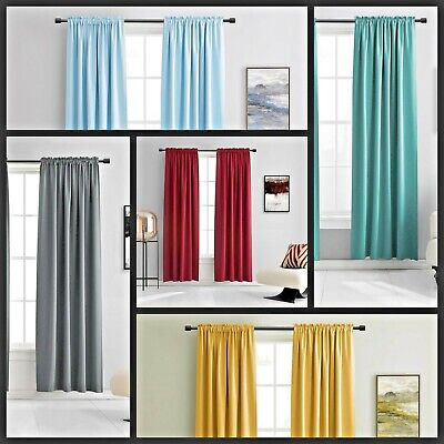 $13 • Buy Set Window Curtain Faux Silk Rod Pocket Drape 2 Tone Mix & Match Solid Color ANY