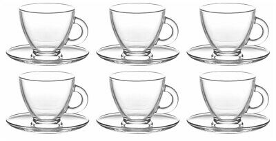 LAV CLASSICAL CLEAR Glass Coffee Cappuccino Tea Cups & Saucers Set, 225ml 12pc • 14.50£
