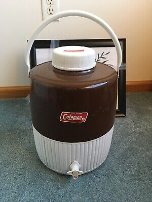 $25.75 • Buy Vintage Coleman Jug Cooler Brown 2 Gallon Water Thermos Camping W/ Drink Cup 81