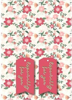 £2.22 • Buy PINK FLOWERS GIFT WRAPPING PAPER  2 SHEETS & 2 TAGS Floral Birthday Woman Womens