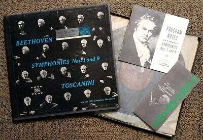 $9.99 • Buy RARE! Beethoven Symphonies 1 & 9, Toscanini, Box Set Of 2 LP With Program Notes