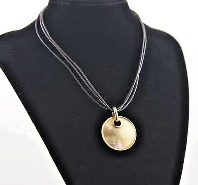 $ CDN10.88 • Buy LIA SOPHIA TAOS Mother Of Pearl Slide On Leather Cord Gold Tone NECKLACE NWT