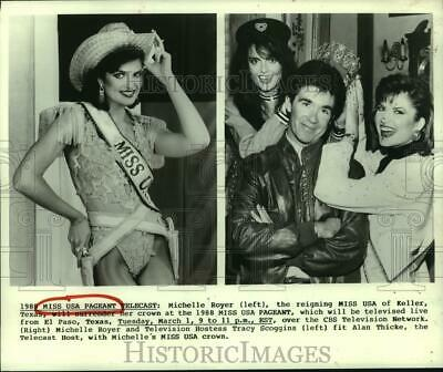 $19.99 • Buy 1988 Press Photo Michelle Royer, Tracy Scoggins, Alan Thicke & Miss USA Crown.