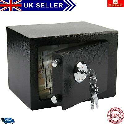 Strong Steel Safe Security Key Fireproof HOME OFFICE MONEY CASH SAFETY BOX BLACK • 38.99£