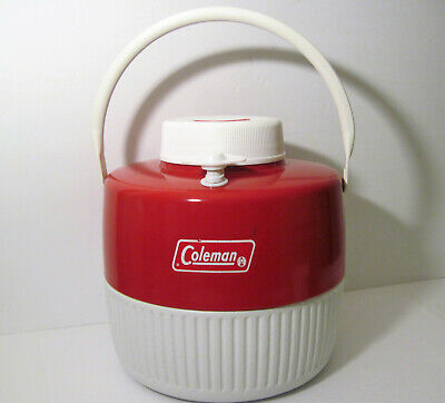$34.95 • Buy Vtg 1975 Coleman 1 Gallon USA Metal Thermos Water Cooler Jug Red White COMPLETE