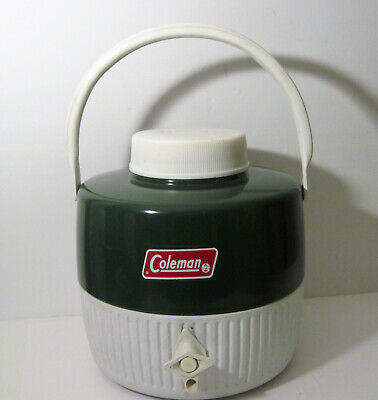 $44.95 • Buy Vtg Coleman 1 Gal. USA Metal Thermos Water Cooler Picnic Jug Green COMPLETE Box