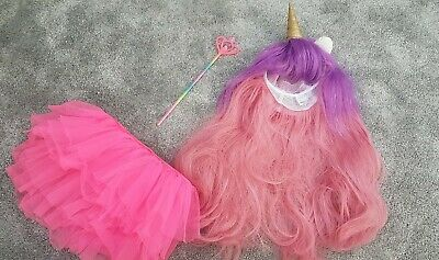 Childrens Dressing Up Unicorn Pink/purple Wig With Pink Tutu And Wand • 0.99£