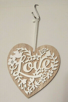 Love 3D CUT-OUT LARGE HEART PLAQUE Wedding Shabby HANGING SIGN White Leaf Bird • 4.95£