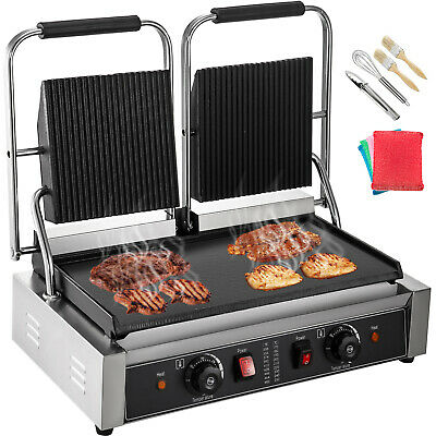 Double Side Contact Grill Electric Griddle Flat Grill Commercial Panini Maker • 199.99£