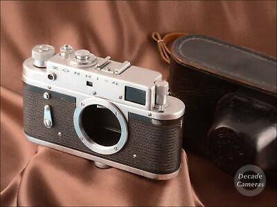 8974 - Zorki 4 Film Camera Body Inc Original Black Leather Case - VGC • 25.99£