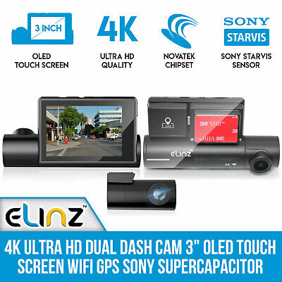 AU205 • Buy 4K Ultra HD Dual Dash Cam 3  OLED Touch Screen WiFi GPS Sony Supercapacitor