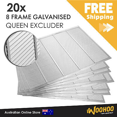 AU220 • Buy 20 X 8 Frame Galvanised Queen Bee Excluder For Hive Box. Carton Of 20 Excluders