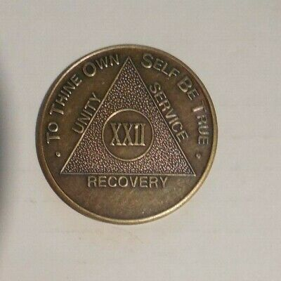 $3.20 • Buy Aa 22 Year New Alcoholic Anonymous Bronze Recovery Sobriety Coin Token Medallion