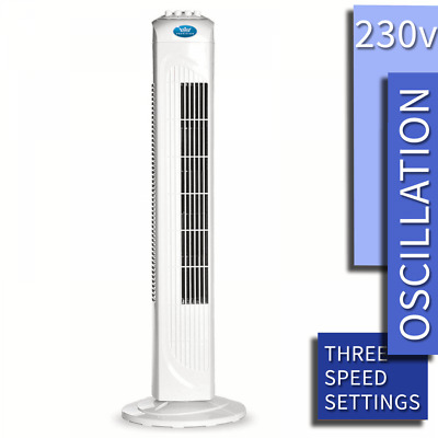 Prem-I-Air Electric White Tower Fan 3 Speed With Oscillation And Timer • 29.99£