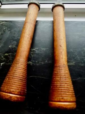 $24 • Buy 2 Antique 12  Tall Wooden Textile Spools Spindles Grooved Conical Base Bronze