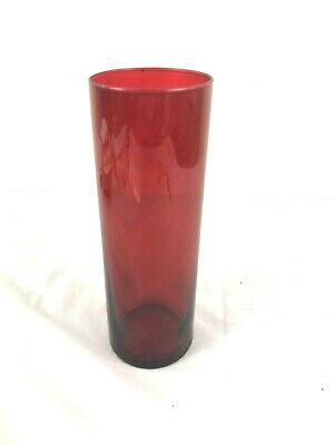 $10 • Buy Red Glass Vase Accent Floating Candle Craft