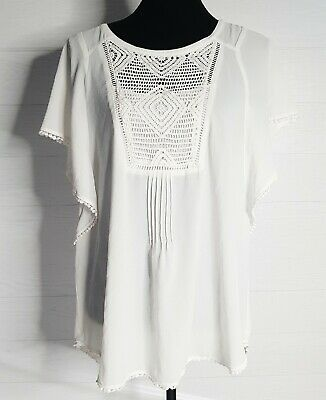$ CDN34.50 • Buy Meadow Rue Anthropologie Ivory Large L Ruffle Eula Poncho Sleeve Top Blouse